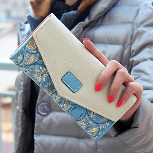 Kingko® durable PU Leather Long wallet wallet (Blau) (Kurze Rindleder-leder-tasche)