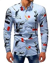 Qiusa Camisas de Hombre 5XL para Hombre Top de Manga Larga Casual 39fd22e12dac9