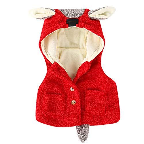 Kobay Neugeborenen Baby Jungen Mädchen Karikatur Ohren Kapuzenmantel Baumwolle Jacke Mit SAMT Gepolsterte Weste(6-12M,Rot) -