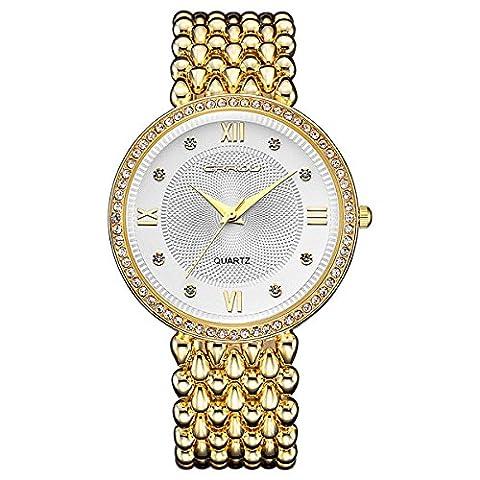 LONGQI WATCH Quartz Movement Causal Waterproof Wristwatch Bracelet with Diamond Luxury Women Dress
