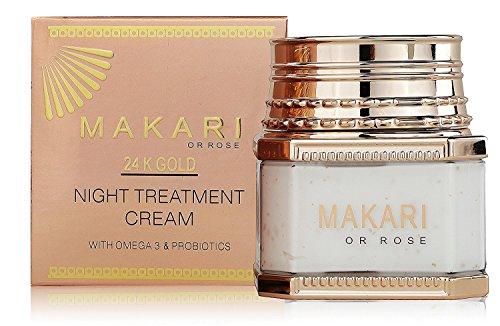 Makari 24K Gold Nacht Behandlung Creme - mit Omega 3 & Probiotika - ideal für Anti-Aging, Aufhellung, Stretch Marks und entfernt Narben.