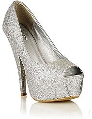Perfect Me - Zapatos de Vestir con Tacón Alto, Plataforma y Punta Abierta con Brillos para Dama