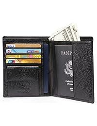Teemzone Hombres Carteras para Pasaporte Cuero Genuino RFID Bloqueo Tarjeteros de Crédito de Moneda Efectivo