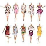 Lance Home 10 pz Moda Fatto a Mano Casual Morbido Panno Bambola Mini Gonna con 10 Coppia di Scarpe per Barbie Casuale Stile