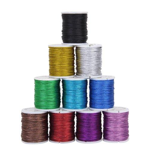 10 Rollen Mischfarbe Multifunktions String Metallic Schmuck Schnur Karte Geflecht 0,5 mm