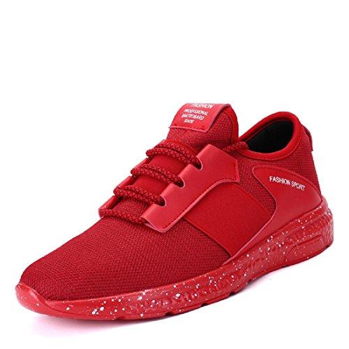 Hommes Chaussures de sport Respirant Entraînement de plein air Chaussures de course Baskets Red