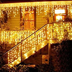 LED Light Curtain, LED Fairy Lights, 216 LED 5M Ice Rains / Icicles Fairy Lights, LED String Lights, Fairy Lights, Christmas Lights, Christmas Decorations, Christmas INTERIOR and EXTERIOR, Warm White