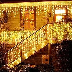 LED Lichtervorhang, LED Lichterkette, 216 LED 5M Eisregen/Eiszapfen Lichterkette, LED String Licht, Lichterkettenvorhang, Weihnachtsbeleuchtung, Weihnachtsdeko Christmas INNEN und AUSSEN, Warmweiß