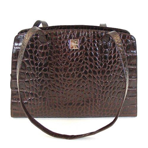Pavini Damen Tasche Shopper Croco Leder braun 12496 Reißverschluss Handyfach