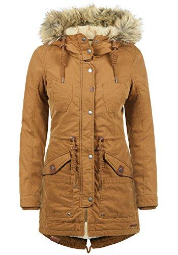 DESIRES Liv Damen Parka lange Jacke Winter-Mantel mit Fell-Kapuze und Teddy-Futter aus hochwertiger Baumwollmischung, Größe:XL, Farbe:Cinnamon (5056) (Fell Cord)