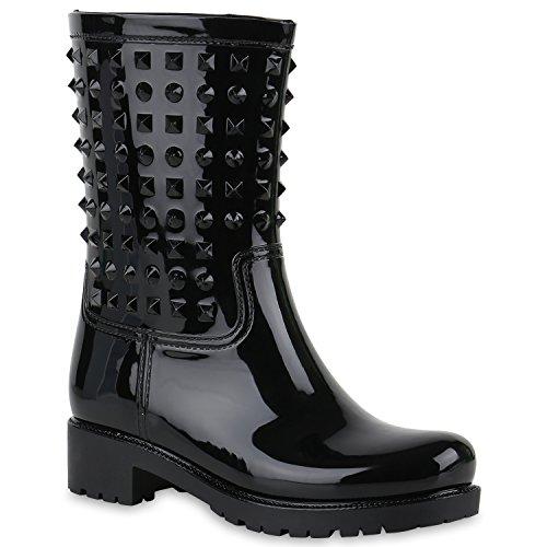Stiefelparadies Damen Stiefeletten Gummistiefel Lack Stiefel Boots Quasten Regen Gummistiefeletten Allyear Schuhe 123776 Schwarz Nieten 39 Flandell