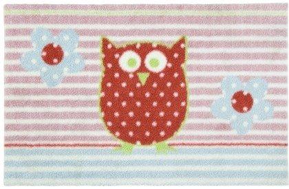 Gift Company 50076 Fußmatte - Fußabtreter - waschbar - Washables - Eule - Fräulein Lotte Rosa/Blau/Rot 75 x 50 cm