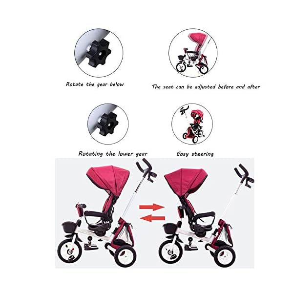 Childrens Folding Tricycle 12 Months To 6 Years 360° Swivelling Saddle Childrens Tricycles Seat Can Be Adjusted Back Folding Sun Canopy Handle Bar Kids Tricycle Maximum Weight 25 Kg,Purple BGHKFF ★Material: Carbon steel + environmental protection paint, suitable for children from 1 to 6 years old, the maximum weight is 25 kg ★ 4 in 1 multi-function: can be converted into a stroller and a tricycle. The seat can be rotated 360°, parent-child interaction, and can also move back and forth ★Safe design: three-point seat belt, front wheel clutch, safer on the way, rear wheel brake, lock rear wheel 3