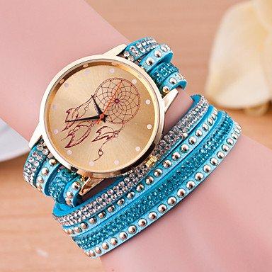 XKC-watches Relojes de Mujer, Las Mujeres de Moda Estilo Largo Europeo Envuelto atrapasueños Diamantes de imitación Reloj Pulsera (Color : Azul Claro)
