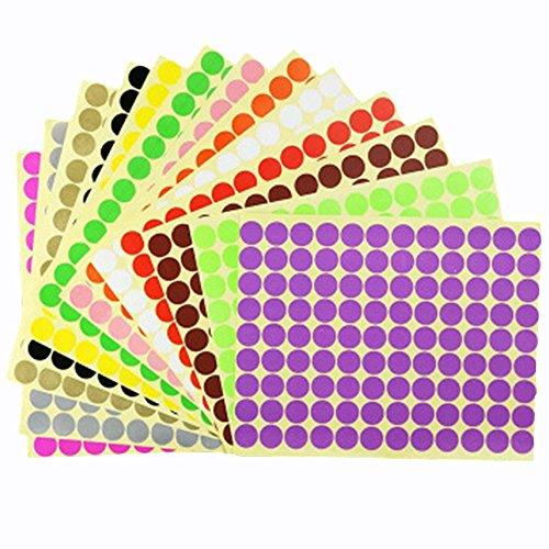 16mm puntino rotondo adesivi etichette codifica a colorate, 14 colore diverso etichette autoadesive foglio per calendario planner arredamento organizzazione aula