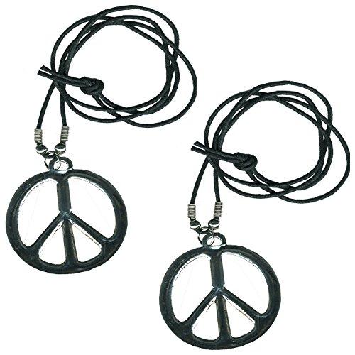 2 x Peace Medaillon mit Umhängeband für 70-er Jahre 70er Flower Power Medallion