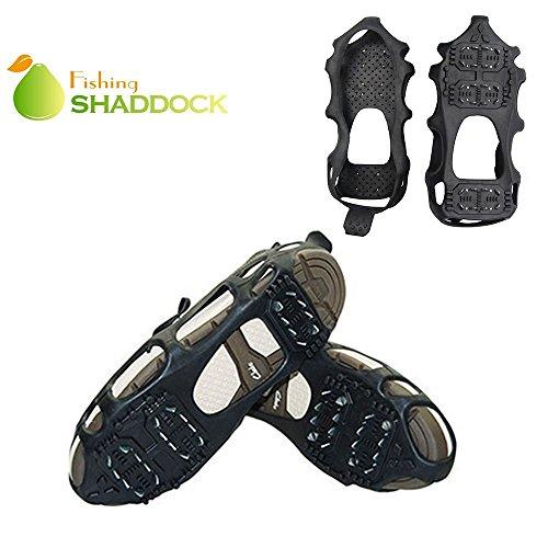 SHADDOCK Angeln® 24Zähne Eis Schnee Spikes Griffe Greifer Rutschfest Stollen Für Schuhe Überschuhe Stiefel, schwarz (Walker-running-schuhe)
