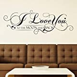 Walplus Pegatinas para la Pared con Cita I Love You to The Moon and Back extraíbles, Gris