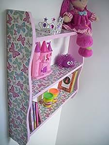 70 cm de hauteur pour chambre de fille Papillon rose-Étagère de rangement pour enfant, Kids, étagère de cube, étagère, bois de pin.