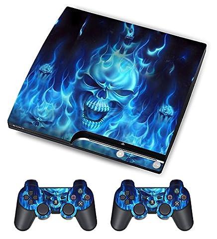 PlayStation 3 PS3 Slim Sticker - Aufkleber Schutzfolie für Sony Playstation 3 PS3 Slim Konsole mit 2 Aufkleber für Playstation DualShock 3 Wireless Controller Skull of Blue