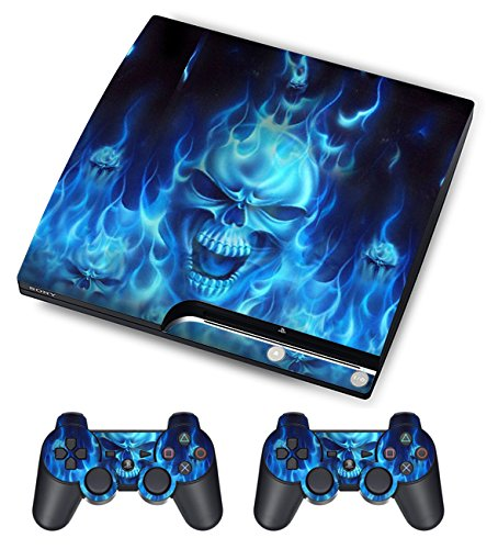 PlayStation 3 PS3 Slim Sticker - Aufkleber Schutzfolie für Sony Playstation 3 PS3 Slim Konsole mit 2 Aufkleber für Playstation DualShock 3 Wireless Controller Skull of Blue Fire