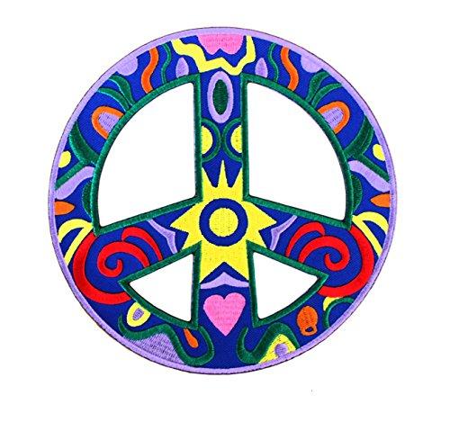 Parche Símbolo Paz Azul Flores Colores - 16 cm x