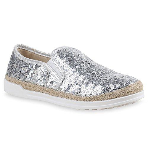 Damen Bast Sneakers Pailletten Slipper Glitzer Slip-ons Silber