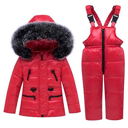 SANMIO Baby Mädchen Winterjacke Warm Schneeanzug Daunenjacke Skianzug Süß Mit Kapuze + Schneelatzhose Down Jacket 2tlg Bekleidungsset Verdickte