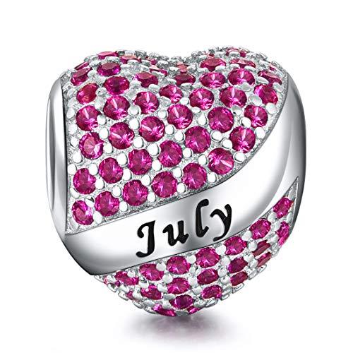 Charms Bead/Kette Daman 925 Sterling Silber,Anhänger passt Pandora Armband Halskette, Funkelnden Zirkonia, Herz-Geburtsstein-Charme, Juli