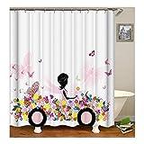 Daesar Polyester-Stoff Badezimmer Duschvorhang 150X180 Mädchen mit Schmetterling Blume Auto Badvorhang Anti-Schimmel