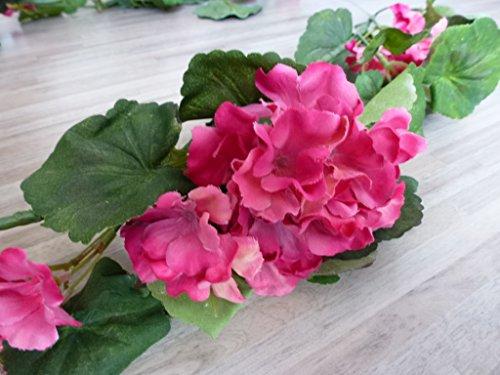 Geraniengirlande, 180cm, 20 Blüten,108 Blätter, mauve 185 cm 331003-05 F19