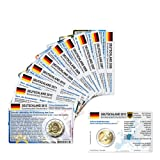 12 Münzkarten (ohne Münze) für 2-Euro Gedenkmünzen Deutschland Prägestätte J-Hamburg ab 2006-2013 Größe (B x H): ca. 86 mm x 54 mm
