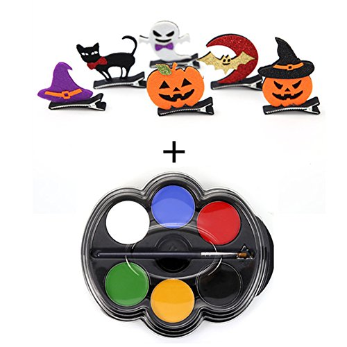 Petansy Halloween 6 Farben bilden Körper-Farbe + 6Pcs Halloween-Haarnadel