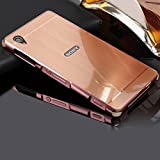 Hülle für Sony Xperia Z1 Matt,BtDuck Weich Silikon Eckenschutz Aluminum Überzug Metal Mirror Back Case Matt Schutzhülle Handyhülle Mirror Spiegelnd Make Up Schutzhülle für Sony Xperia Z1 Rose Gold