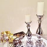Kerzenleuchter ALADDIN Silber Kerzenständer Kerzen Deko Keramik Dekoration