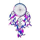 Pink Pineapple Dreamcatcher bunt mit Federn: Handgemachter Traumfänger in Vielen Farben - Königsblau, Rosa, Lila, - Großer Traumfänger Mit 22 cm Umfang und 60 cm Lang
