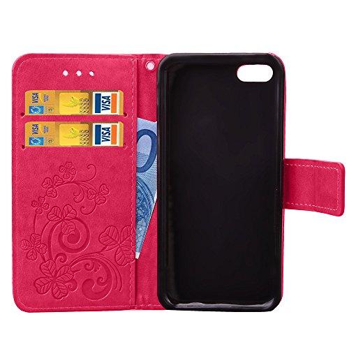 Feeltech Apple iPhone 5C SE 5 5S Bookstyle Étui en Cuir Case à Rabat Magnétique Fermeture Coque de Protection avec Porte Carte et Stand, Ultra Slim Portefeuille Motif Case Cover pour Apple iPhone 5C S Trèfle-Rose