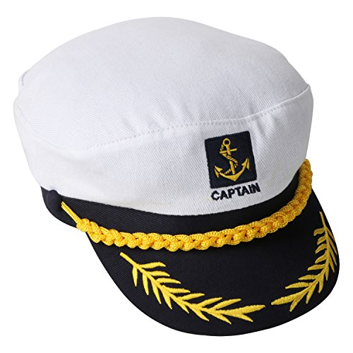 TRIXES Kapitänsmütze Weiß/Navyblay verstellbare Captain Sailor Marine (Marine Sailor Kostüme)