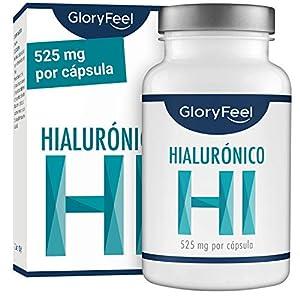 GloryFeel® Àcido Hialurónico puro 525mg altamente concentrado – 90 Cápsulas veganas – Probado en laboratorios – Sin aditivos y fabricado en Alemania