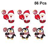 TOYANDONA 56 pz carte di carta lecca-lecca di natale babbo natale pinguino lecca-lecca confezione confezione porta caramelle per festa di natale compleanno compleanno baby shower