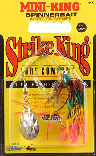 Strike King Mini King Spinnerbait, Unisex, MK-671, Red/Yellow/Pink/Green, 1/8-Ounce -