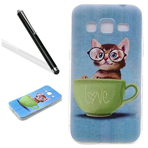 Galaxy J3 2016 Case,Galaxy J3 2016 TPU Case,Leeook Cute Lovely Funny Elegant Retro Blue Cat Glass Green Cup Transparent Soft TPU Gel Ultra Thin Slim Fit Scratch Resistant Case Cover Back Bumper for Samsung Galaxy J3 2016 + 1x Black Stylus Test
