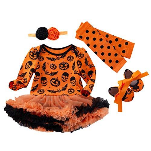 Riou Baby Kostüm Halloween Kürbis Kostüm Kinder Baby Mädchen Karneval Fasching Paty Cospaly Costume Langarm Pumpkin Printed Strampler + Tutu Tüll Rock + Haarband + Socken Outfits Set (80, Orange - Geist Halloween Matrose Kostüm