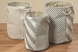 Wäschekorb rund grau beige Wäschesack Korb Stoffkorb Wäschepuff 42 , 48 , 50 cm (mittel: H 48 x Ø 36 cm)