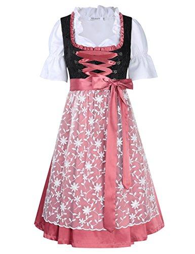KoJooin Trachten Damen Dirndl Kurz/Lang - Midi Trachtenkleid für Oktoberfest - Drei Teilig: Kleid, Bluse, Schürze Pfirsich 42/L