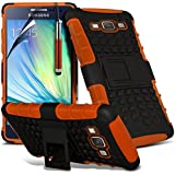 ( Orange ) Samsung Galaxy A5 Premium Quality Tough Survivor Hart Rugged Shock Proof Heavy Duty Case W / Back Ständer, LCD-Display Schutzfolie, Reinigungstuch & Mini Retractable Stylus Pen von Fone-Case