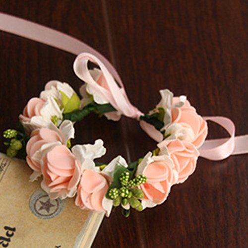 Babysbreath rosa fiori fascia bracciale con nastro ghirlande regolabili per la festa del partito bracciale e rosa