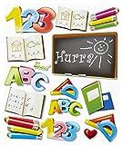 Stickerkoenig 3D Sticker XXL Wandtattoo Kinderzimmer Wandsticker - Schule Set #560 Schulanfang Schreibtisch Deko Schultüte