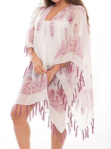 J Fashion Accessories Damen Fashion Bademode Überzug Oberkleid Chiffon Kimono Cardigan mit Fransen - Rot - Einheitsgröße Rot Mit Fransen