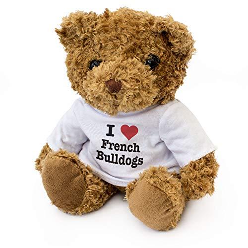 London Teddy Bears Oso de Peluche con Texto en inglés I Love French Bulldogs - Cute Soft Cuddly, Regalo para Perro, Regalo de cumpleaños, Navidad